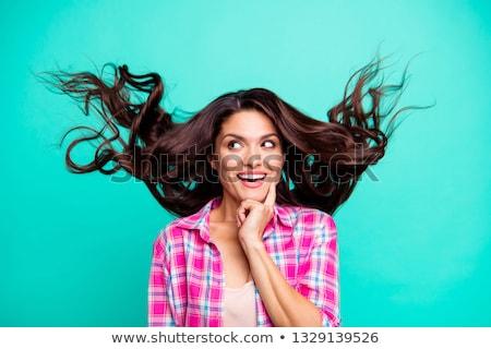 belo · feliz · mulher · jovem · brasão · ar · isolado - foto stock © dacasdo