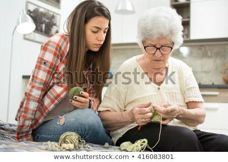 Nagymama köt unoka család kanapé női Stock fotó © photography33