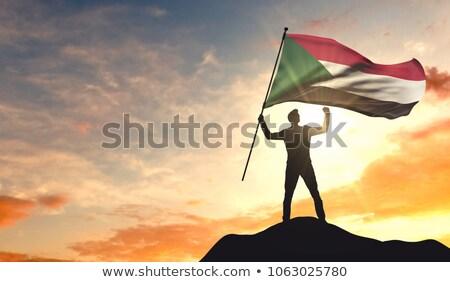 Banderą Sudan cień biały tle czarny Zdjęcia stock © claudiodivizia