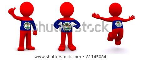 Stock fotó: 3D · karakter · mintázott · zászló · Belize · izolált