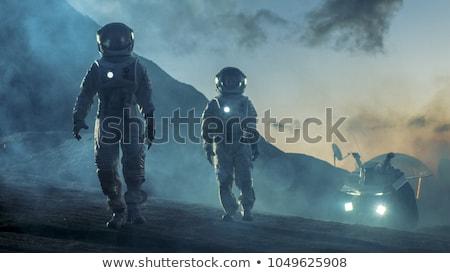Twee mannen planeet Blauw water wereldbol kaart Stockfoto © mariephoto