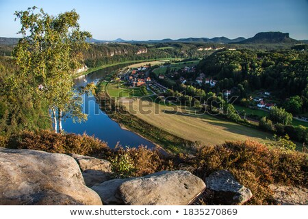lilienstein with colorful trees stock photo © w20er