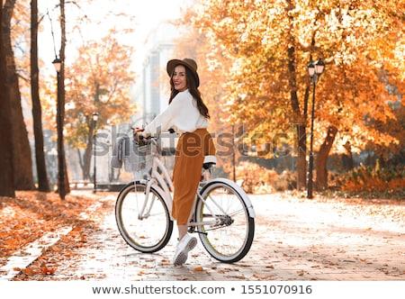 portre · mutlu · genç · kadın · dağ · bisikleti · açık · havada · doğa - stok fotoğraf © monkey_business