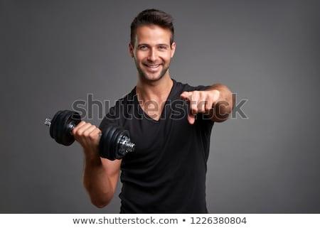 női · fitnessz · testépítő · pózol · fehér · nő - stock fotó © nejron
