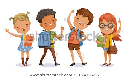 back to school little cute schoolboy and schoolgirl vector illustration stock photo © carodi