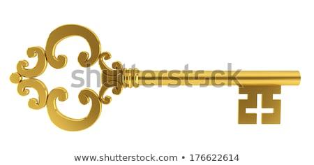 öreg · sárgaréz · kulcs · izolált · fehér · díszes - stock fotó © neirfy