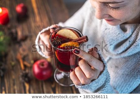 Natal canela anis comida vidro tabela Foto stock © yelenayemchuk