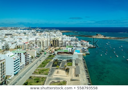 aerial of Arrecife with coast at the island of lanzarote Stock photo © meinzahn
