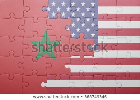 Zdjęcia stock: USA · Maroko · flagi · puzzle · wektora · obraz