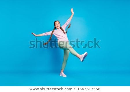 młoda · kobieta · zielone · odizolowany · biały · kobieta - zdjęcia stock © yurok