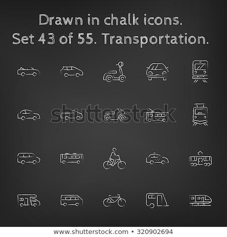Taxi car icon drawn in chalk. Stock photo © RAStudio