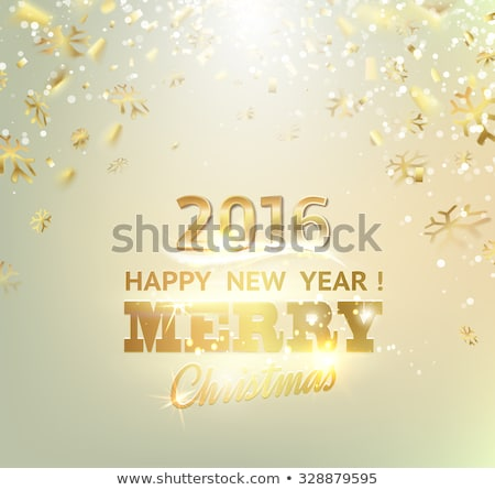vector illustration of 2016 happy New Year grey Baubles and snowflakes Stock photo © rommeo79