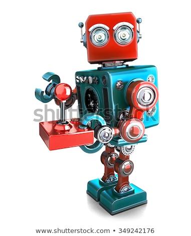 Rétro robot joystick isolé blanche Photo stock © Kirill_M