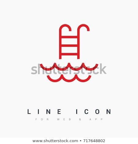 Бассейн лестнице линия икона уголки веб Сток-фото © RAStudio