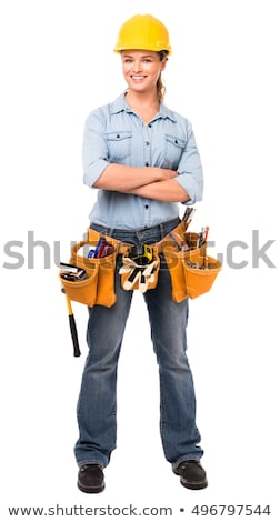 meisje · oranje · hamer · poseren · blazen · omhoog - stockfoto © vlad_star