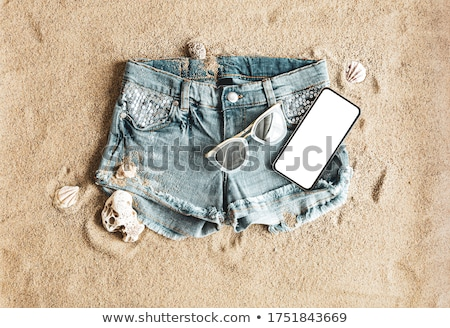 Fille denim short belle fille nature argent Photo stock © bezikus