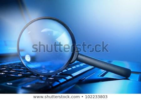 Nagyító laptop billentyűzet számítógép laptop technológia felirat Stock fotó © goir