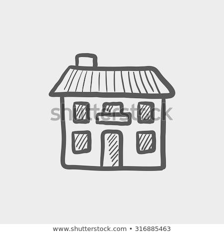 two storey detached house sketch icon stock photo © rastudio