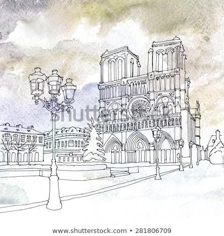 Street lamp outside the Notre Dame Stock photo © artjazz