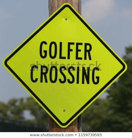 Céder golfeur signe jaune Photo stock © njnightsky
