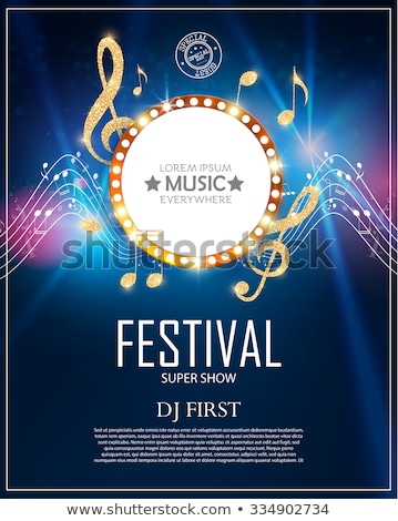 live music design poster with notes wave Stock photo © SArts