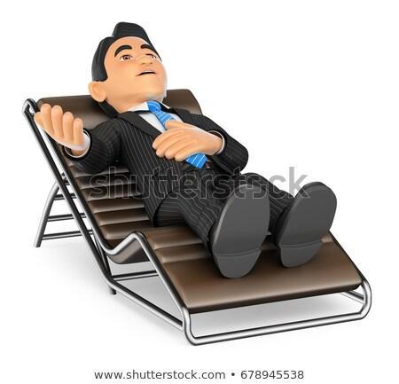 3D Businessman lying on a divan speaking Stock photo © texelart