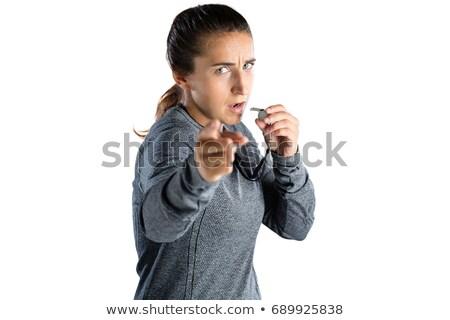 Retrato femenino entrenador silbar Foto stock © wavebreak_media