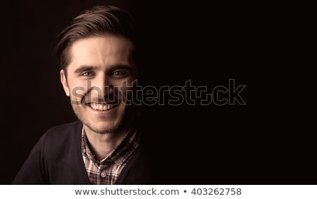 Mysterious Man on Black Background Stock photo © filipw