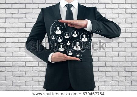 Społecznej crm biały murem gryzmolić ikona Zdjęcia stock © tashatuvango