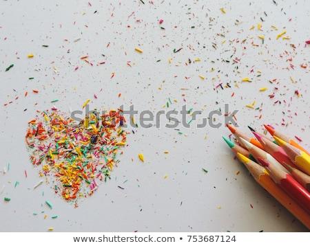 Arco iris corazón color lápices papel Foto stock © Sonya_illustrations