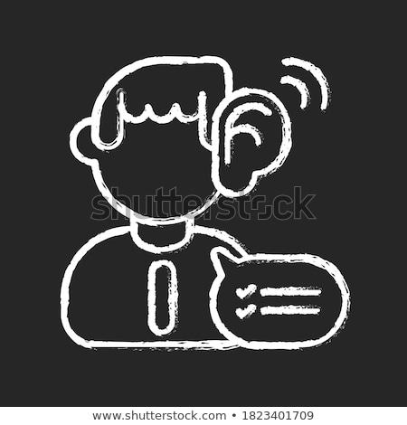 listen and learn on chalkboard with doodle icons stock photo © tashatuvango