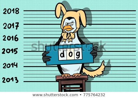 Nouvelle année drôle pingouin jaune terre chien Photo stock © rogistok