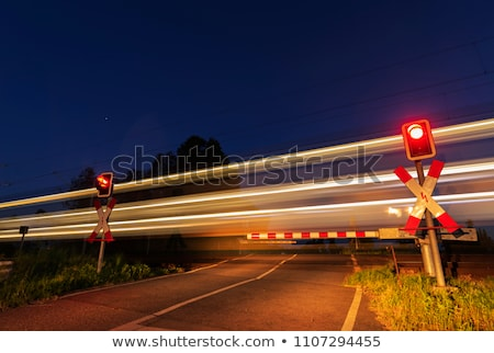 train on the railroad at night time stock photo © bluering