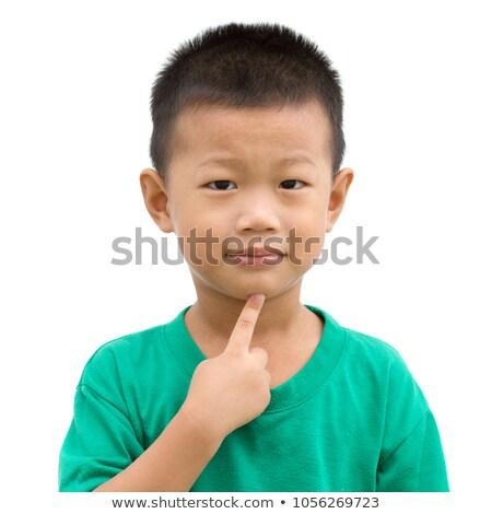 Asiático criança indicação queixo feliz sorridente Foto stock © szefei