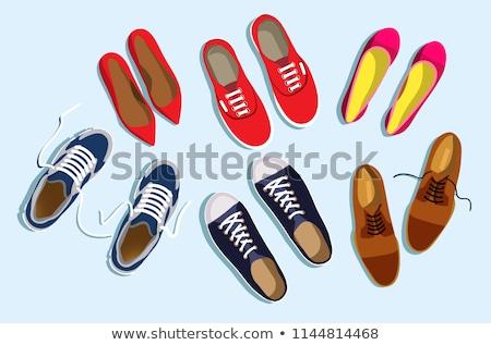 Zapatos negro rojo gris hombre sexy Foto stock © anyunoff