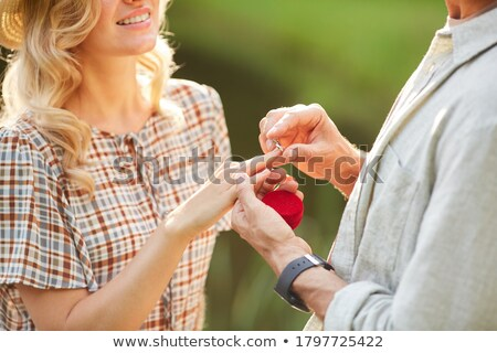 Woman accepting ring smiling close-up Stock photo © IS2