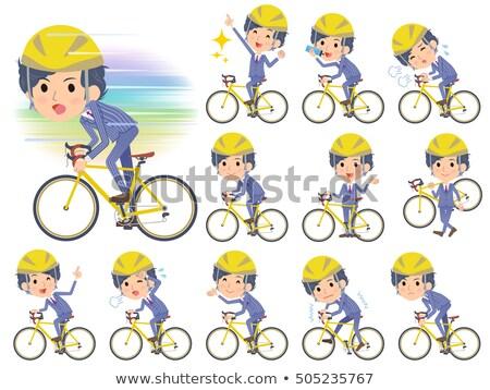 Csík öltöny dauer haj férfiak bicikli Stock fotó © toyotoyo