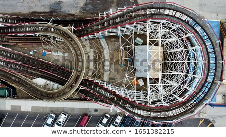 Hiistoric wooden roller coaster Cyclone on Coney island Stock photo © boggy