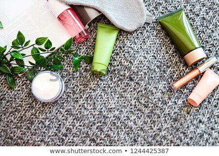 SPA cosmetic products on dark blanket from above. Beauty blog fl Stock photo © dashapetrenko