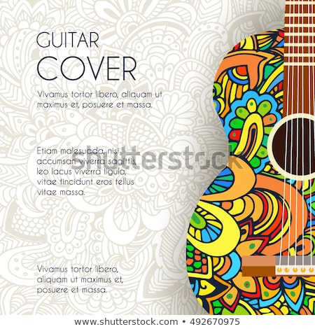 Hand drawn art classic guitar background ornament illustration concept. Vector design stock photo © Linetale