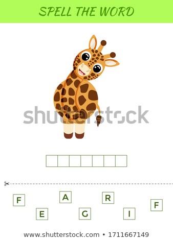 правописание слово жираф иллюстрация фон образование Сток-фото © colematt