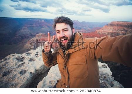 Boldog elvesz Grand Canyon utazás turizmus technológia Stock fotó © dolgachov