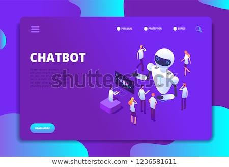 Leszállás oldal üzletemberek kommunikál alkalmazás mesterséges intelligencia Stock fotó © RAStudio