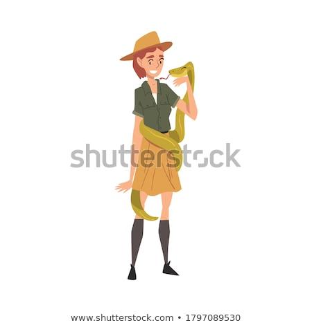 cartoon · illustratie · meisje · ontdekkingsreiziger · kaart - stockfoto © cthoman