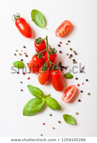 Organic Mini San Marzano Tomatoes on the Vine with basil and pepper on white kitchen background stock photo © DenisMArt