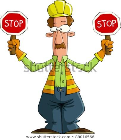 Cartoon weg werknemer snor illustratie Stockfoto © cthoman