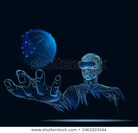 człowiek · faktyczny · rzeczywistość · okulary · 3d · cyberprzestrzeń · technologii - zdjęcia stock © dolgachov