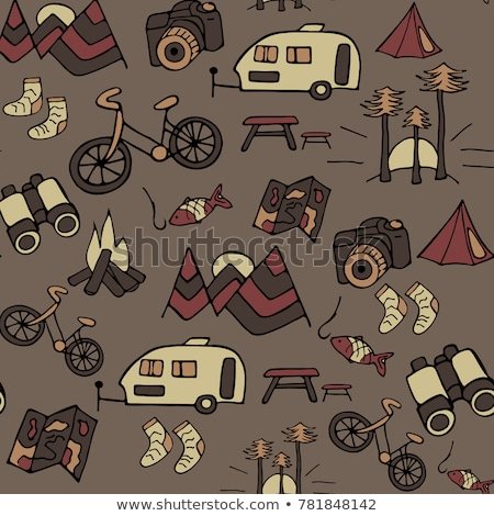 Stock photo: Camp binocular seamless background. Camping equipment pattern design. Featuring binocular with custo