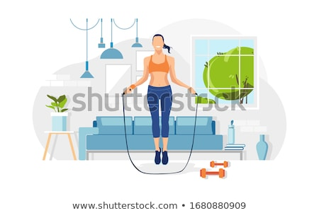 bottle with water jumping rope vector illustration stock photo © robuart