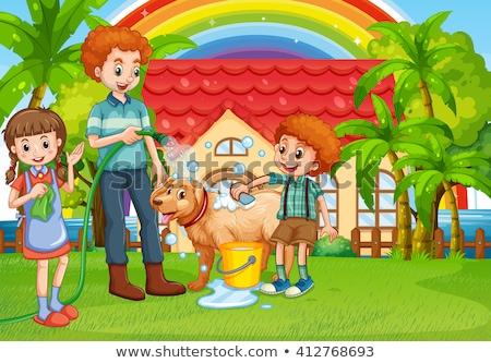 Stok fotoğraf: Erkek · köpek · banyo · ev · örnek · çocuk